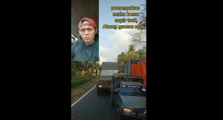 Sopir Truk Sok Jago Saat Berpapasan dengan Truk TNI, Ujungnya Gemetar Minta Maaf